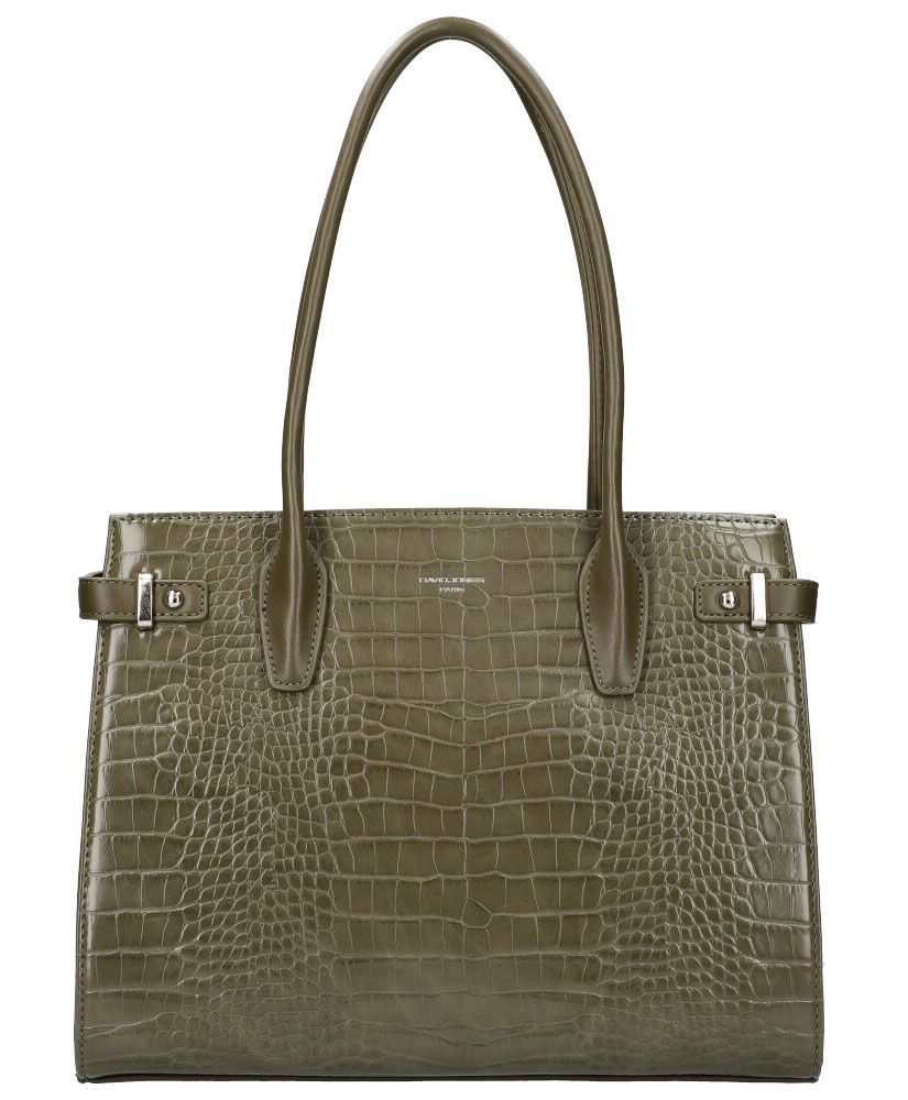 DAVID JONES Olivovo zelená dámska kabelka v krokodílom dizajne CM5846
