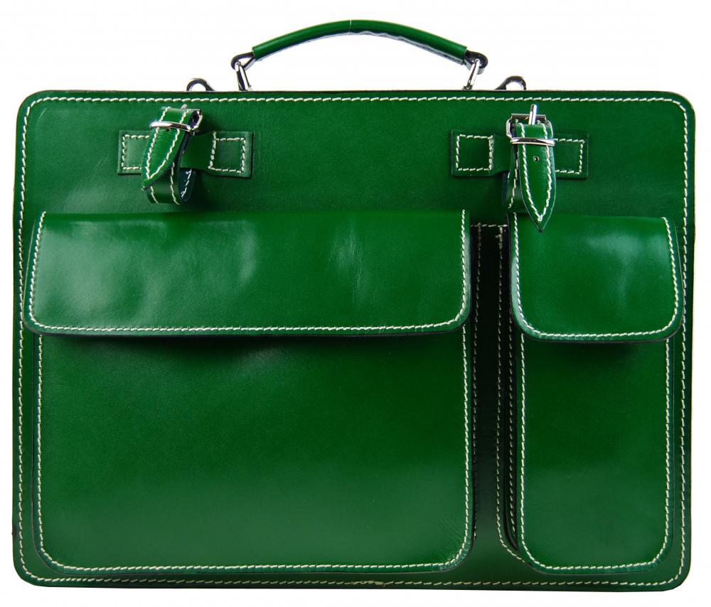 Moderná smaragdovo zelená pánska aktovka z pravej talianskej kože DIVA