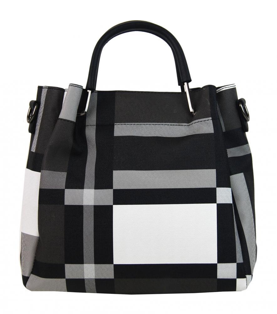 Čierno-biela elegantná dámska kabelka do ruky