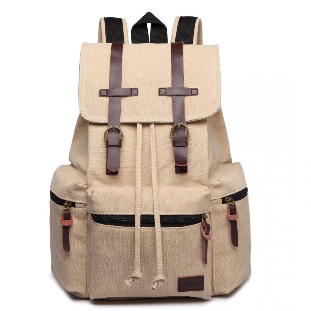 KONO veľký béžový multifunkčný batoh s koženými doplnkami UNISEX
