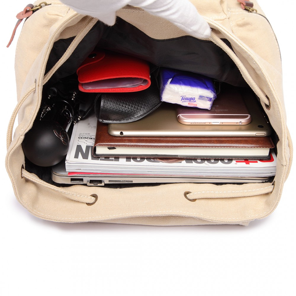 KONO velký béžový multifunkční batoh s koženými doplňky UNISEX