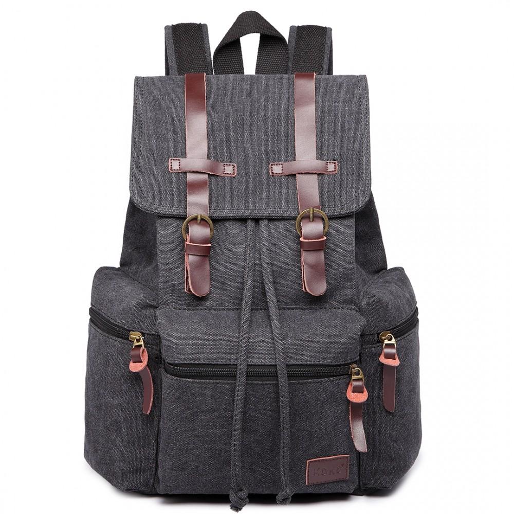 KONO veľký čierny multifunkčný batoh s koženými doplnkami UNISEX