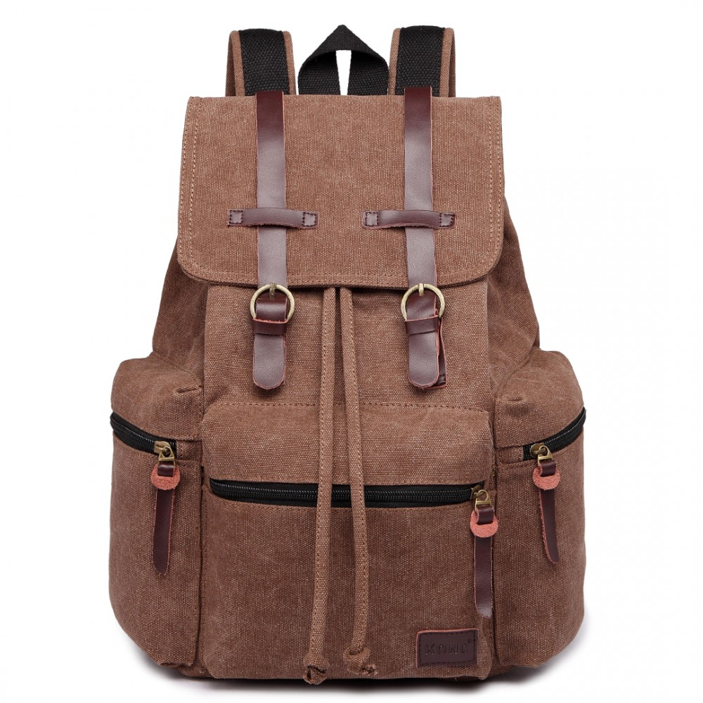 KONO veľký tmavo hnedý multifunkčný batoh s koženými doplnkami UNISEX