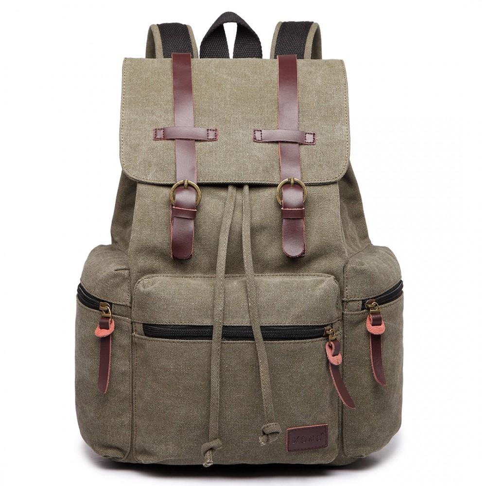 KONO veľký khaki zelený multifunkčný batoh s koženými doplnkami UNISEX
