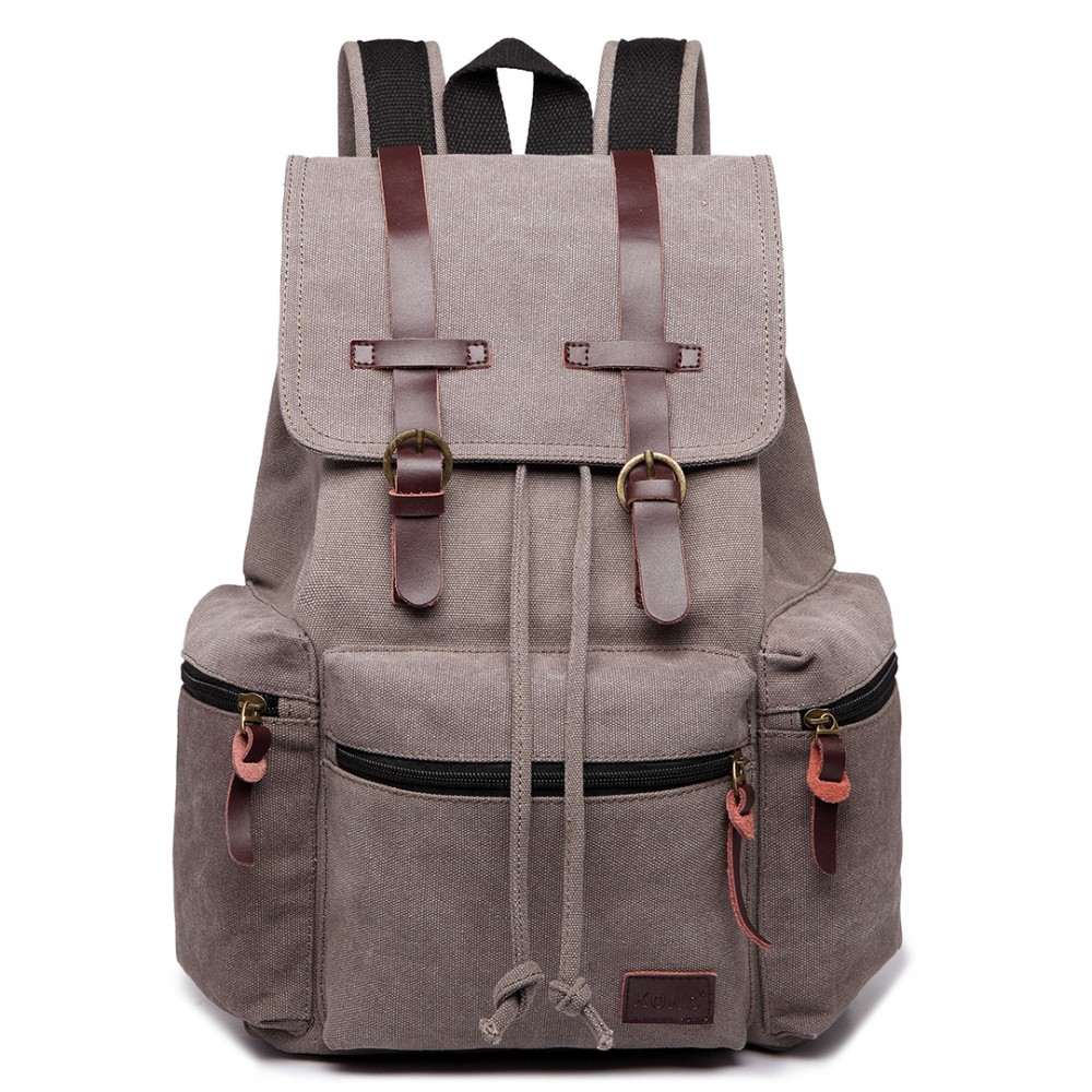 KONO veľký sivý multifunkčný batoh s koženými doplnkami UNISEX