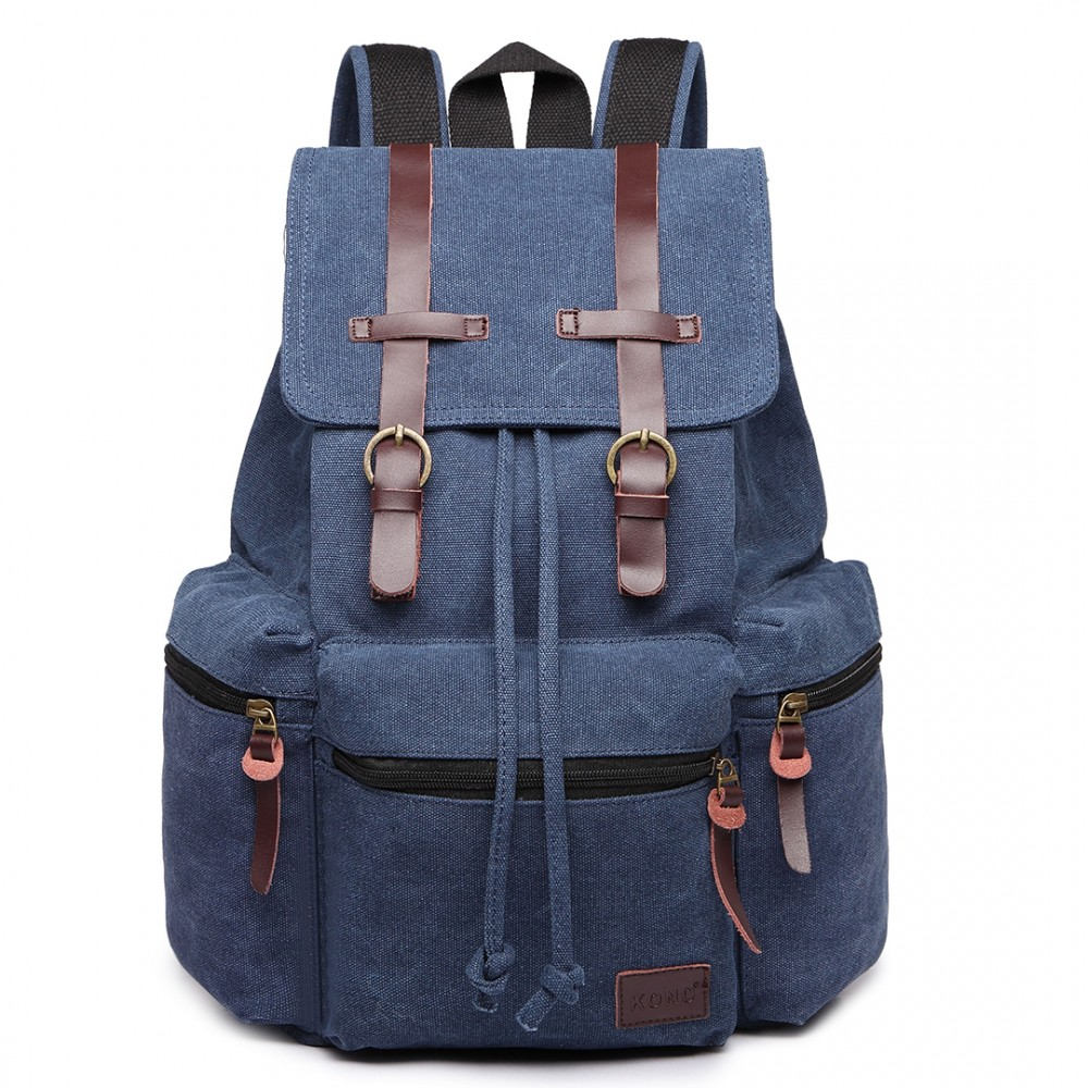 KONO veľký modrý multifunkčný batoh s koženými doplnkami UNISEX