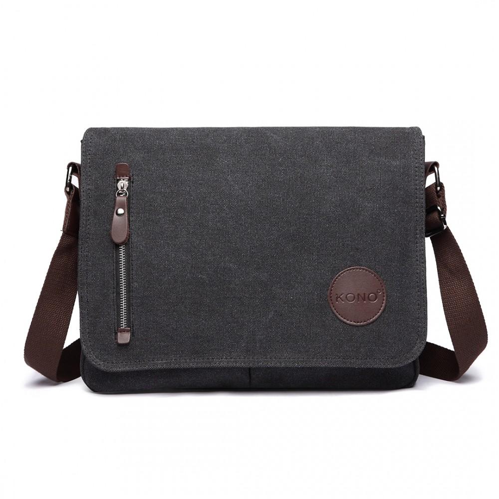 KONO pánska crossbody messenger taška E1824 čierna