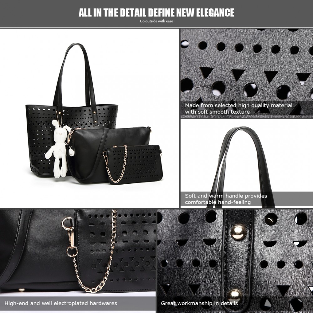 Černý dámský kabelkový set Rabbit 3v1 Miss Lulu