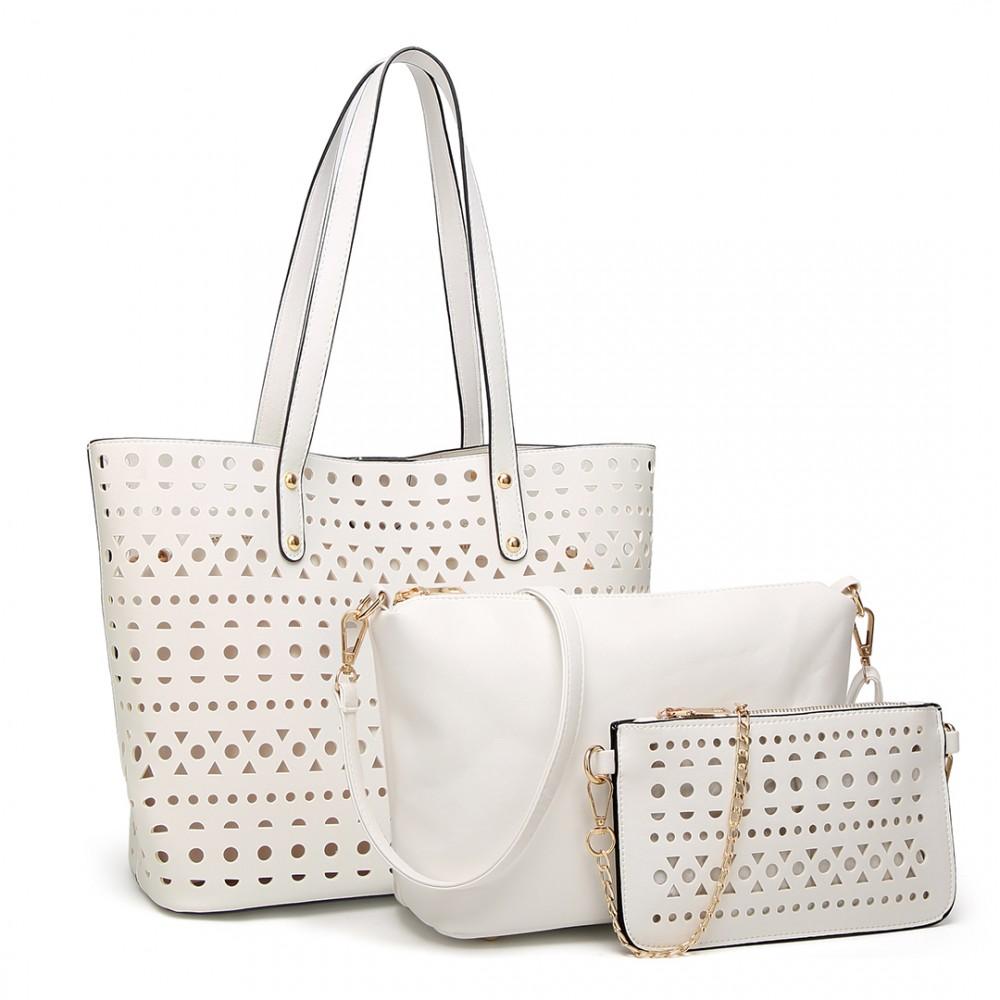Biely dámsky kabelkový set 3v1 Miss Lulu