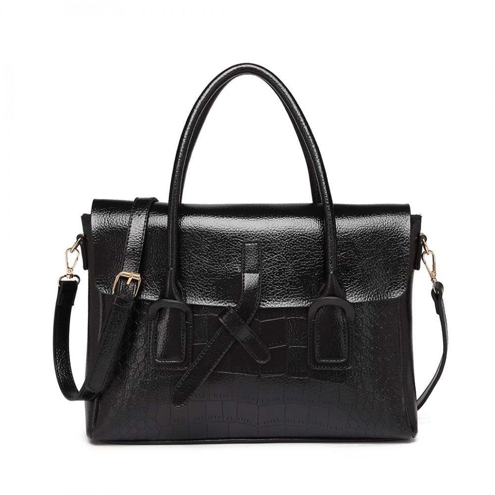 Čierna menšia dámska aktovková kroko kabelka Miss Lulu