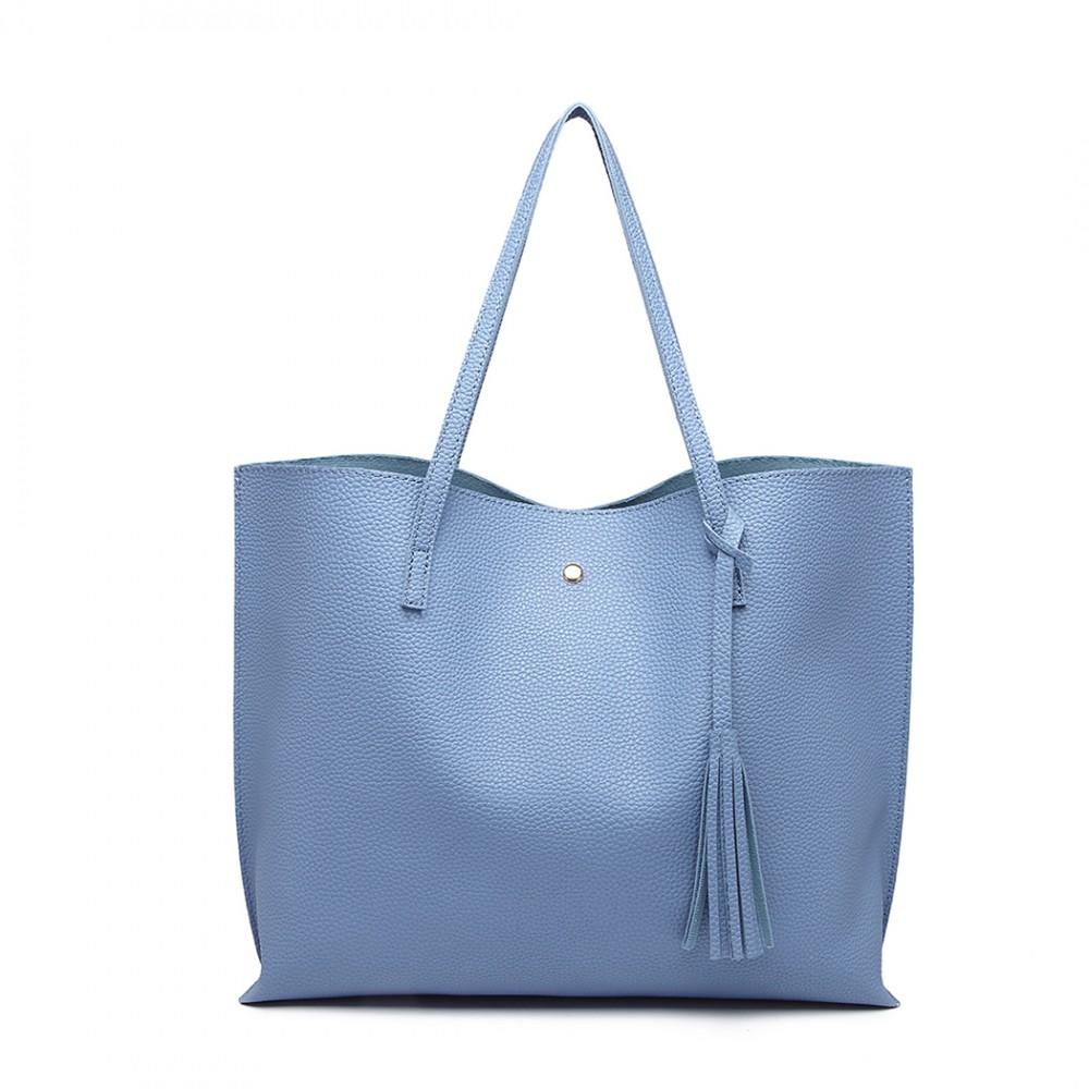 Dámska modrá kabelka pre formáty A4 Miss Lulu