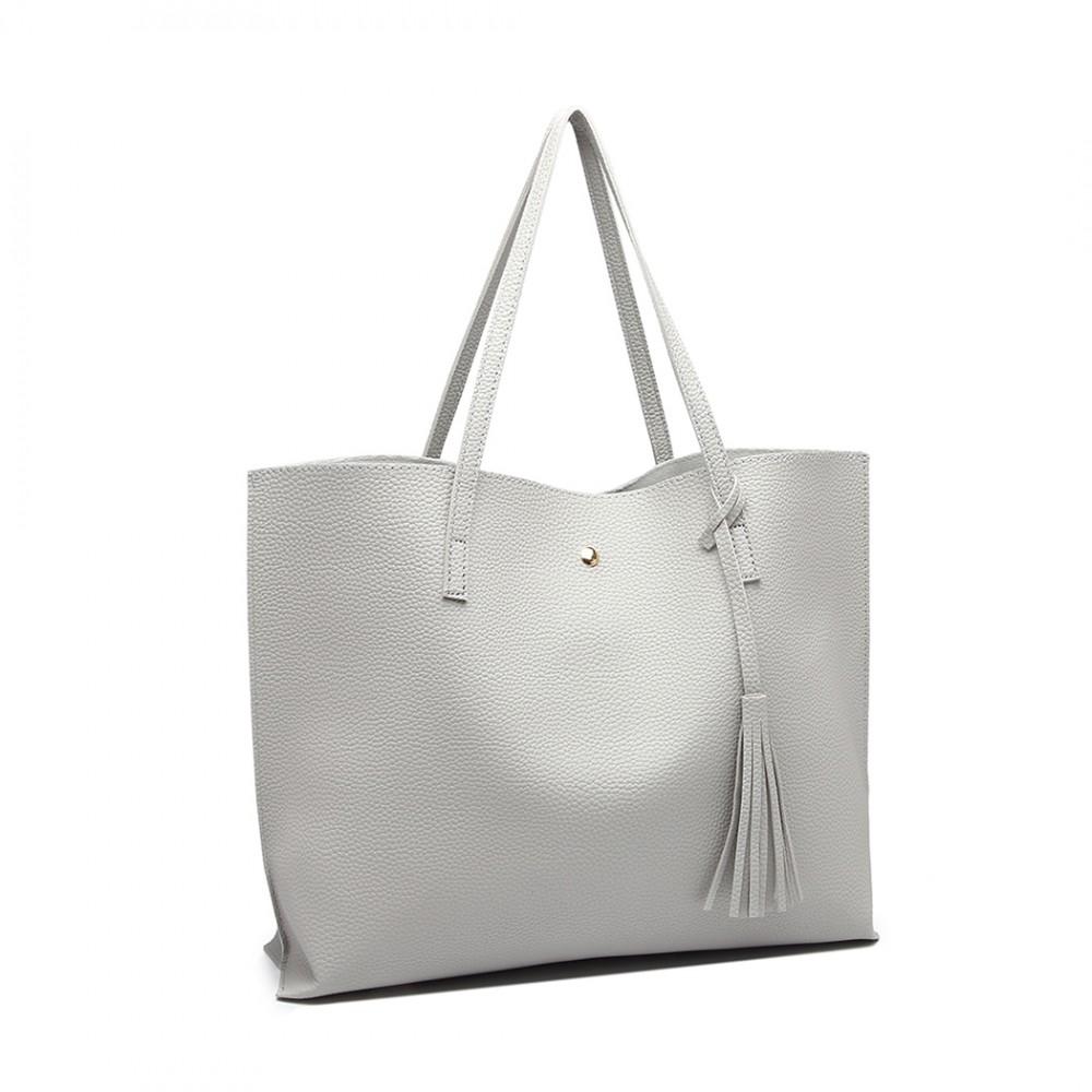 Dámska sivá kabelka pre formáty A4 Miss Lulu