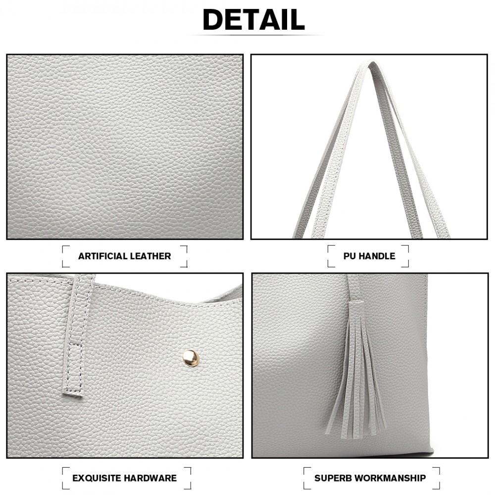 Dámská šedá kabelka pro formáty A4 Miss Lulu