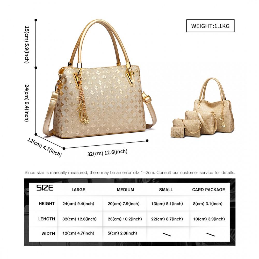 Praktický dámsky kabelkový set 4v1 Miss Lulu zlatá