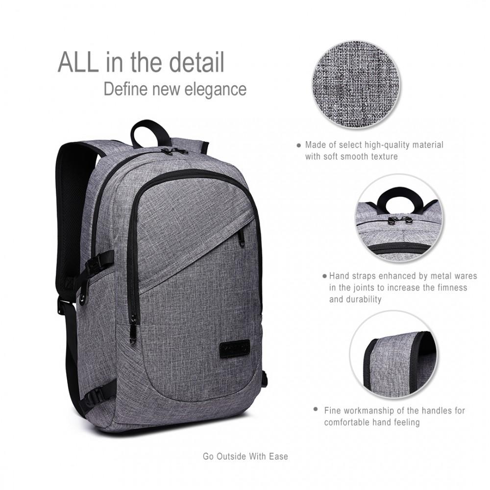 KONO šedý moderný elegantný batoh s USB portom UNISEX