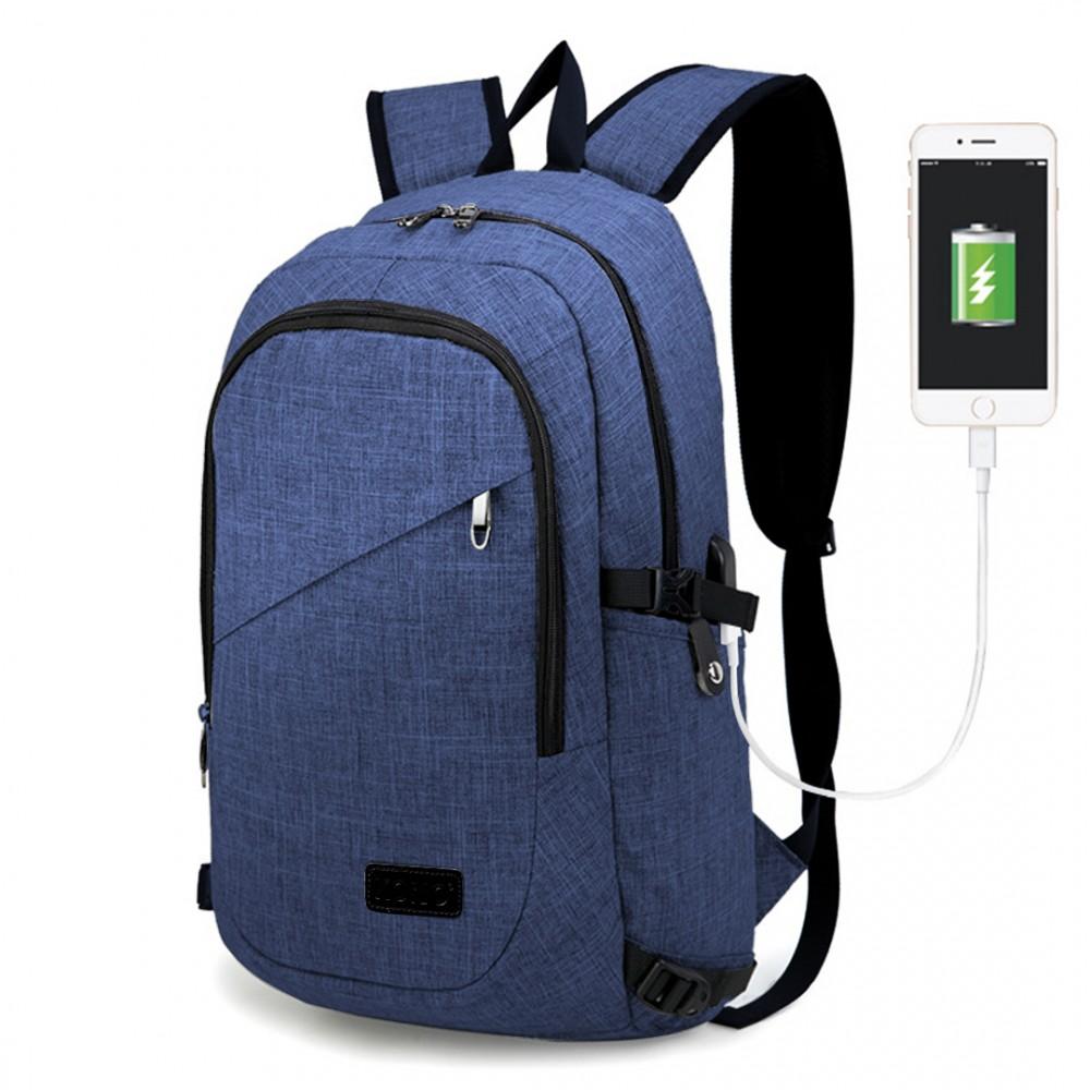 KINO modrý moderný elegantný batoh s USB portom UNISEX