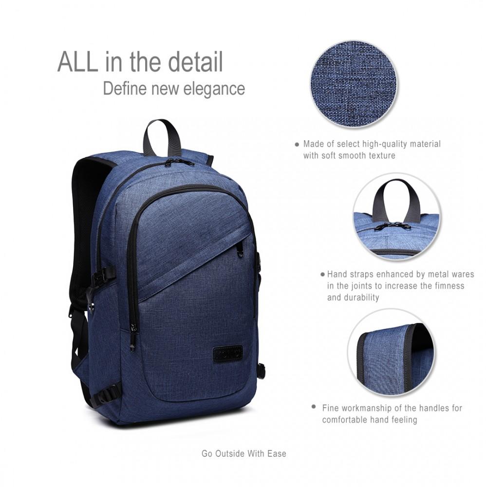KONO modrý moderní elegantní batoh s USB portem UNISEX