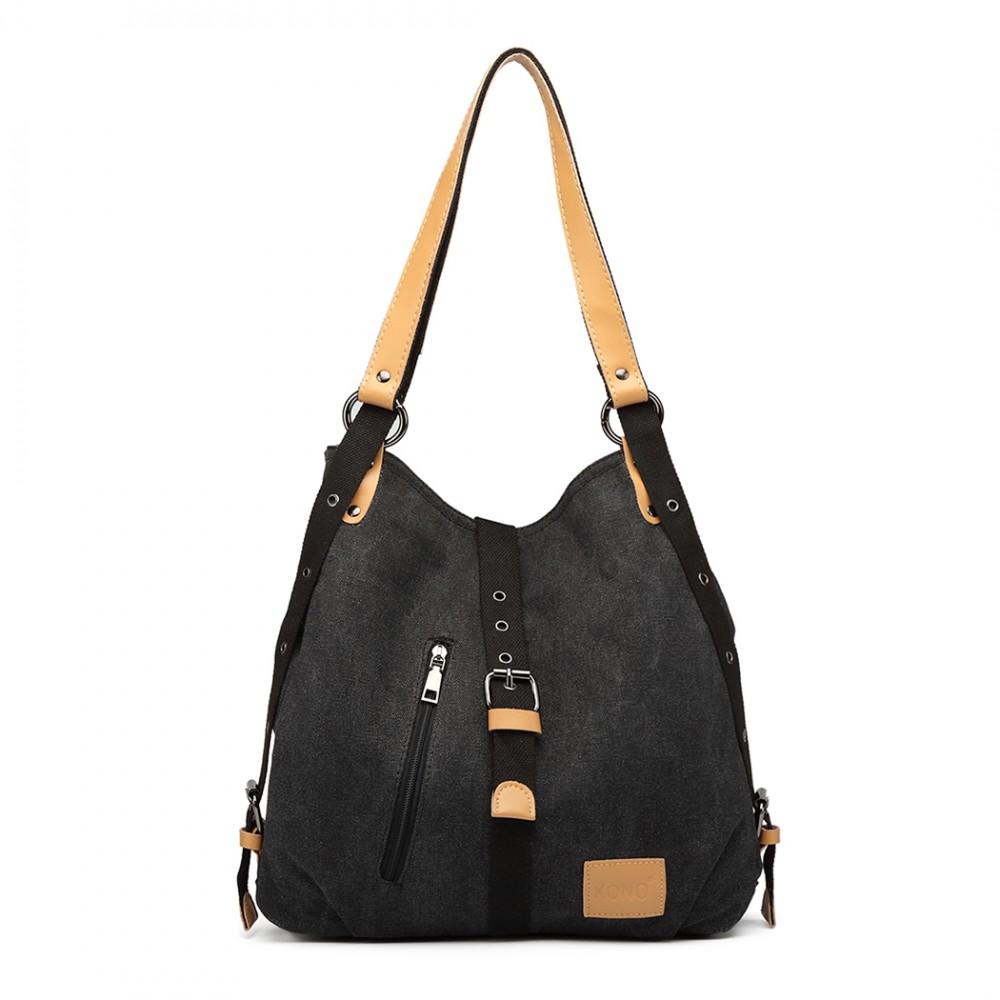 KONO pevná látková dámská kabelka přes rameno černá