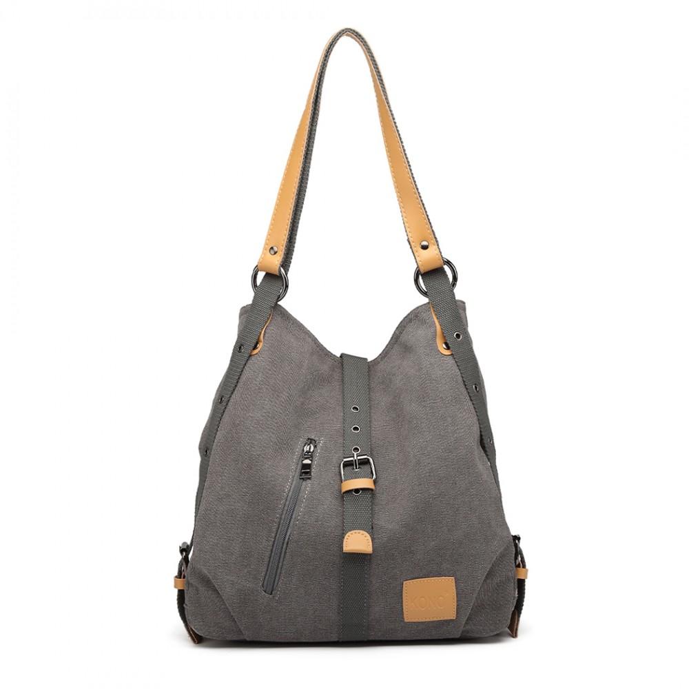 KONO pevná látková dámská kabelka přes rameno šedá