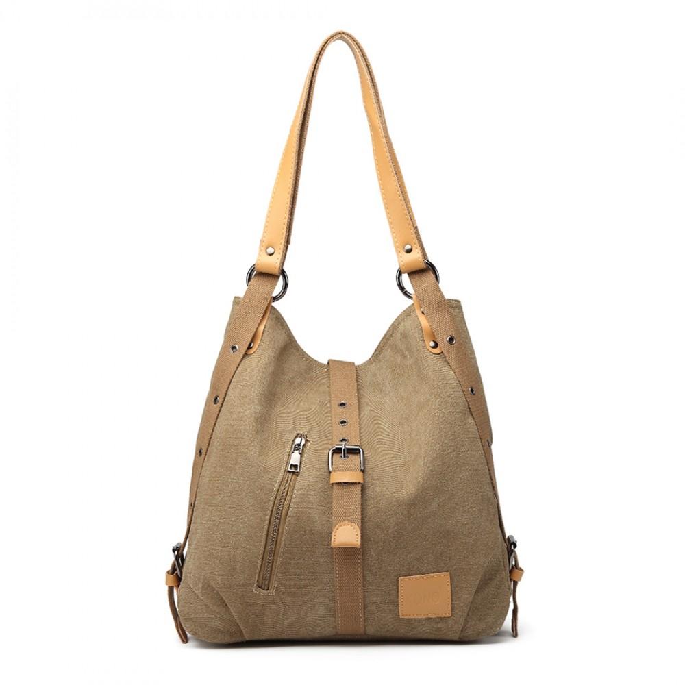 KONO pevná látková dámska kabelka cez rameno hnedá khaki