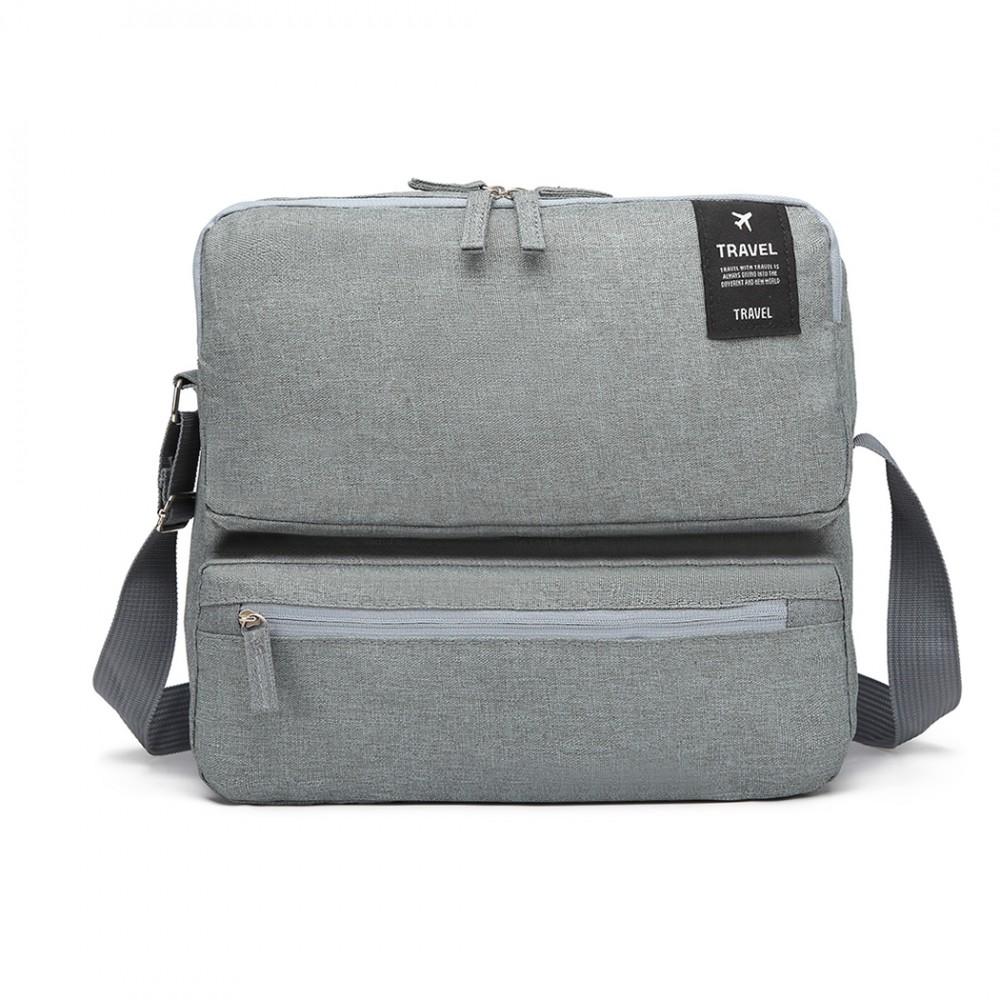 Pánska cestovná taška cez rameno svetlo šedá