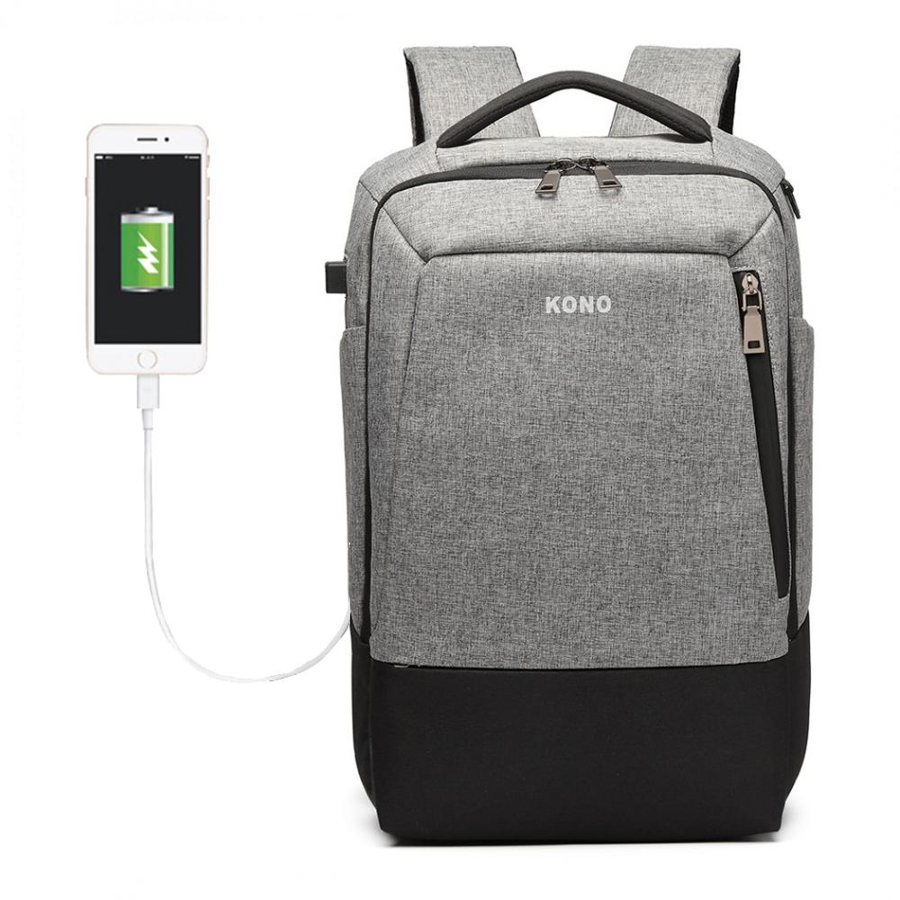 KONO luxusný šedý batoh s USB portom UNISEX
