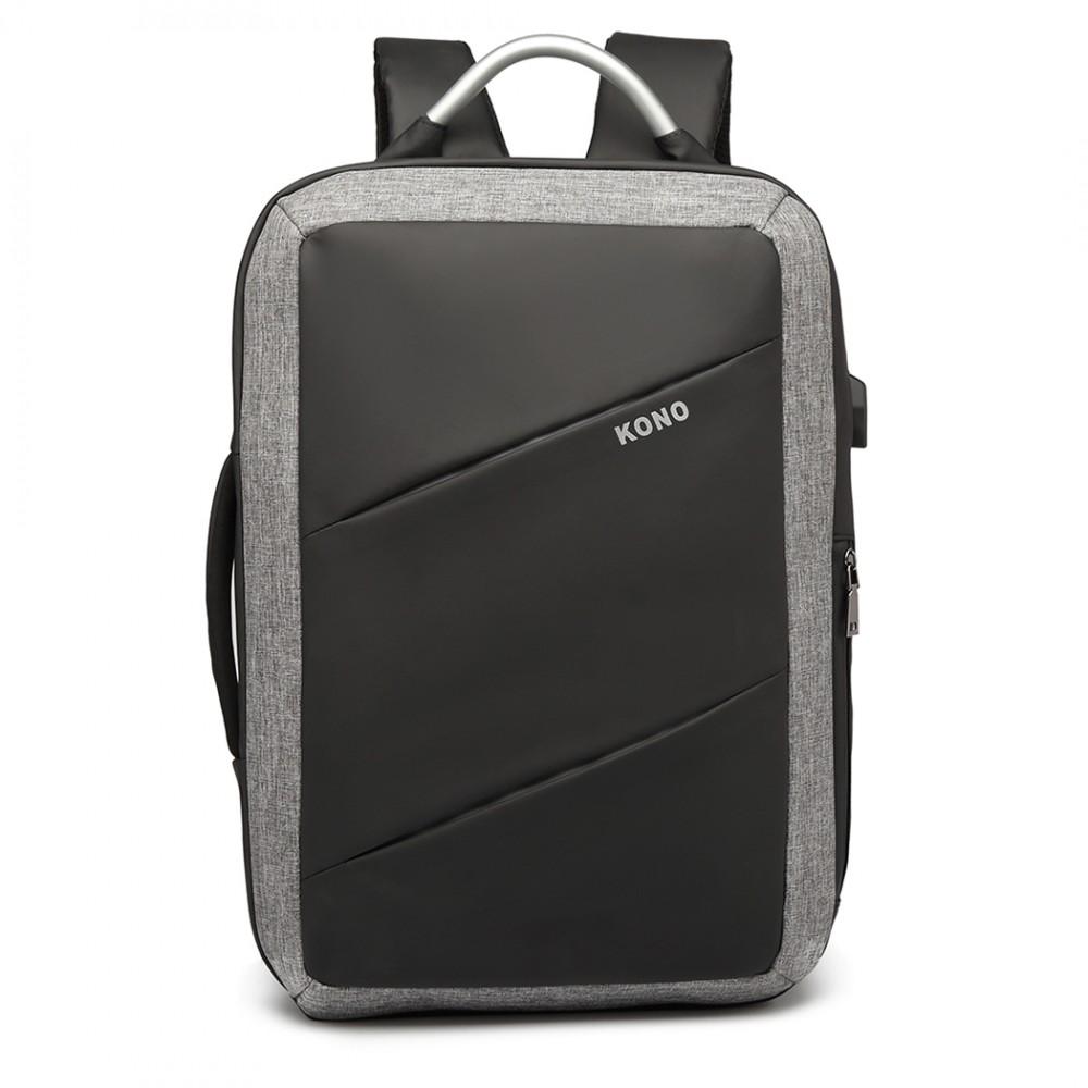 KONO luxusný multifunkčný čierny batoh s USB portom UNISEX