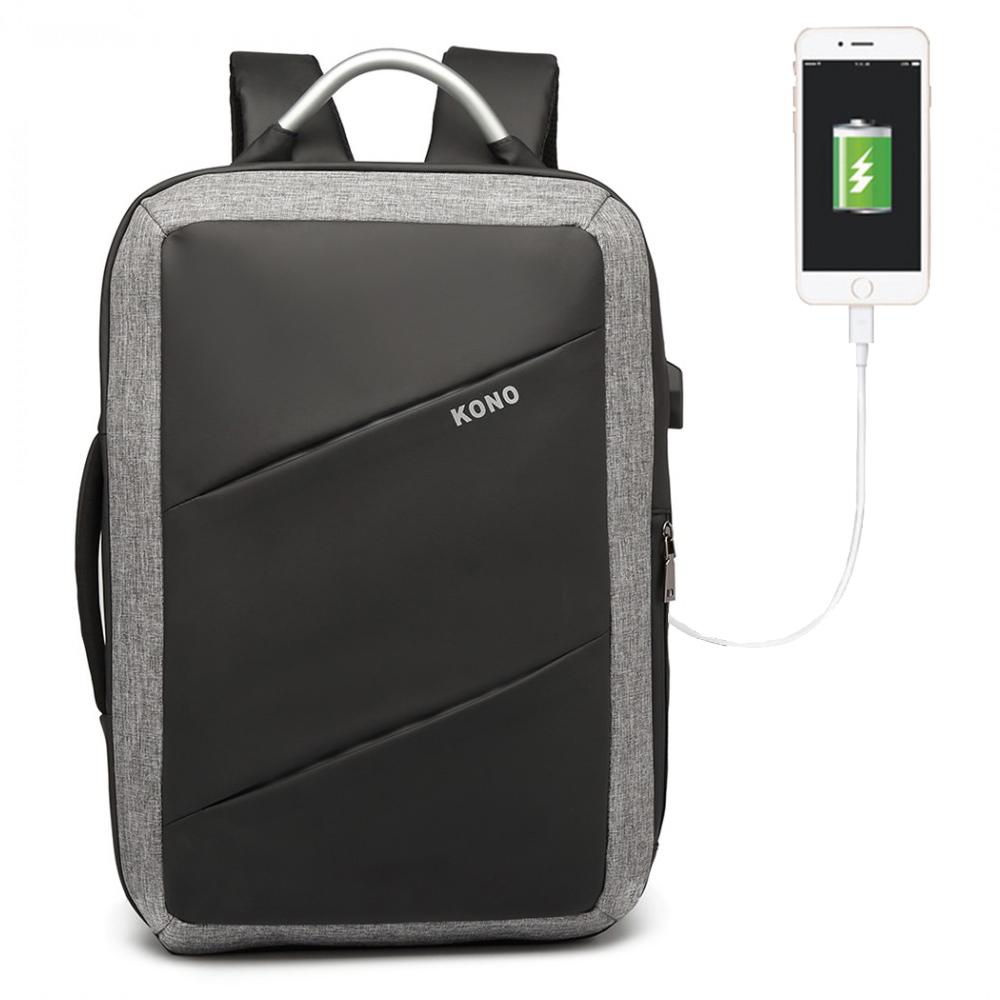 KONO luxusní multifunkční černý batoh s USB portem UNISEX