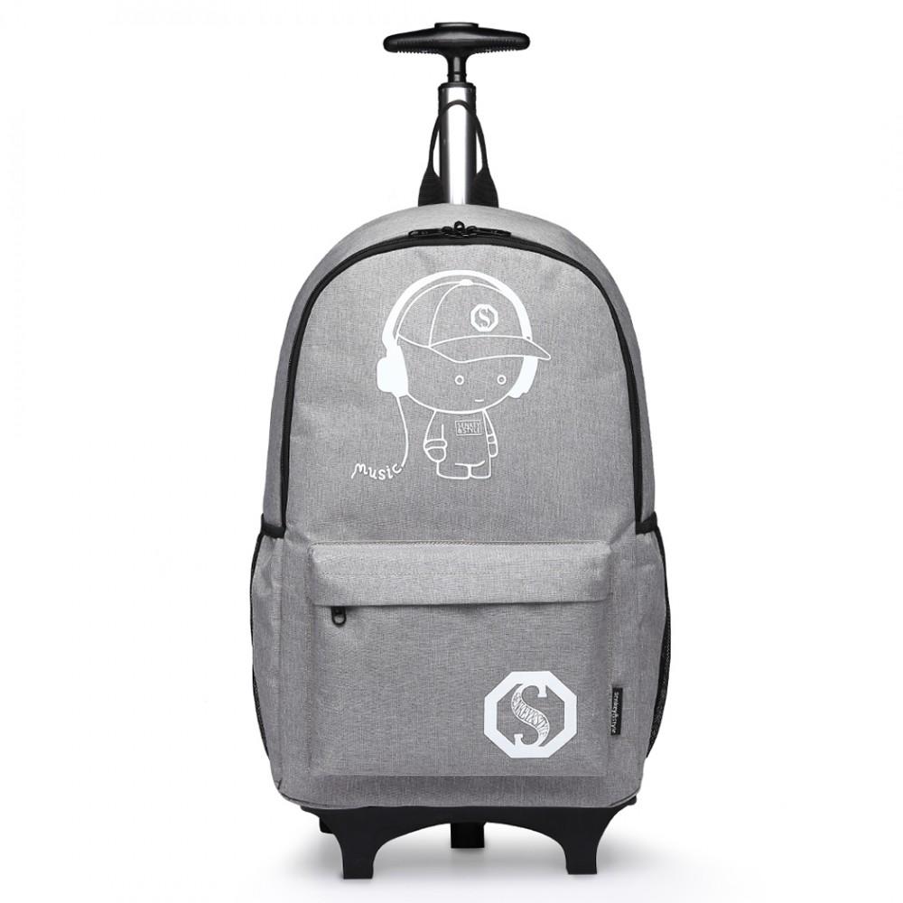 KONO multifunkční šedý batoh na kolečkách, září ve tmě