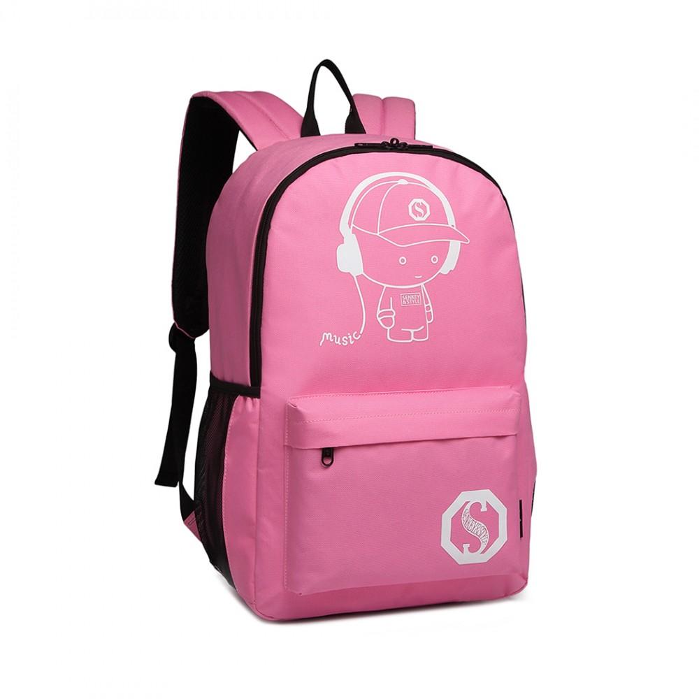KONO multifunkčný ružový batoh na kolieskach, žiari v tme