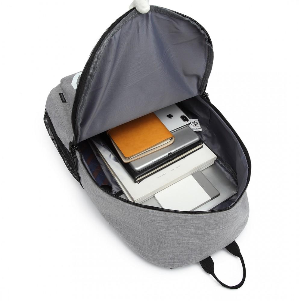 KONO šedý batoh nepromokavý, USB port, září ve tmě
