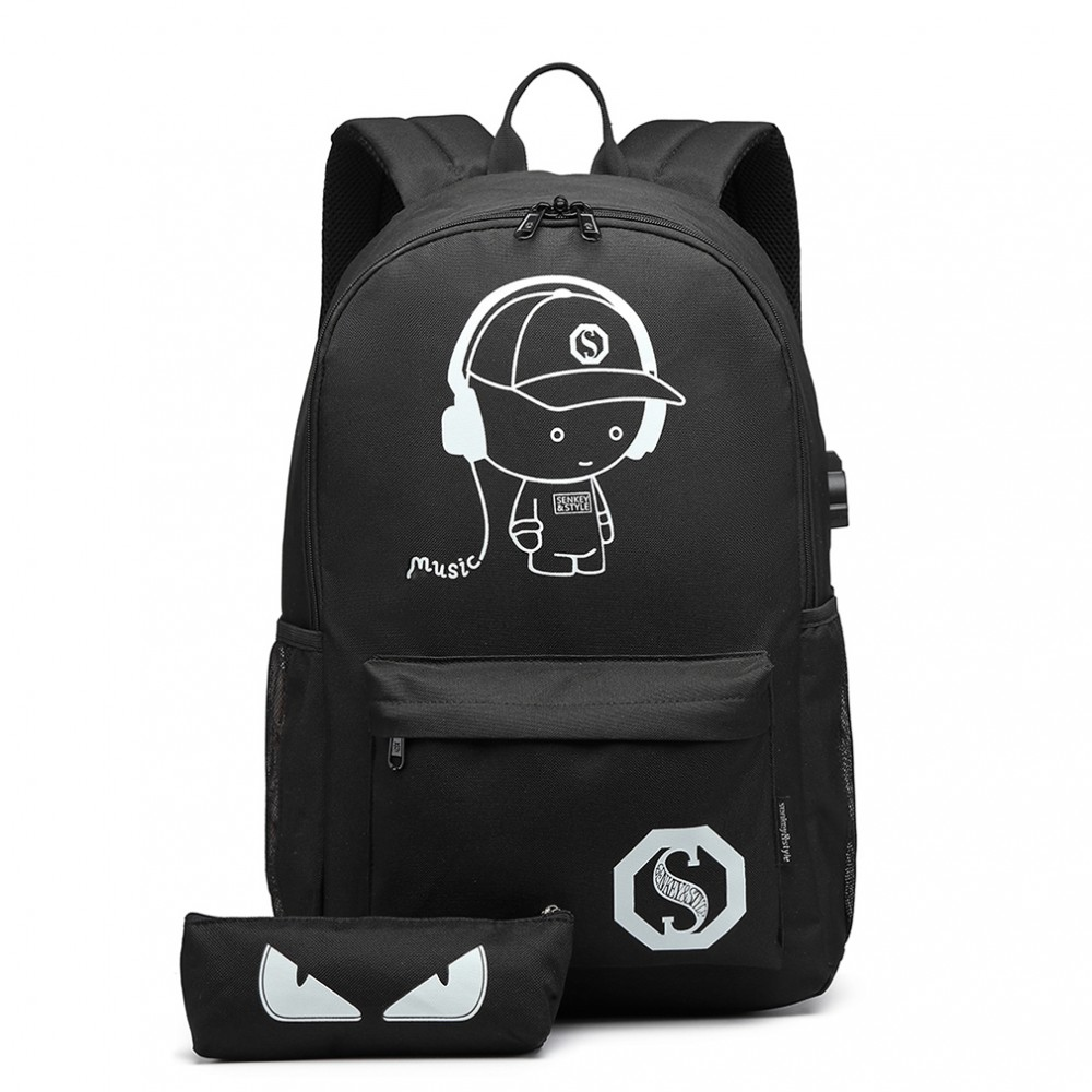 KONO černý batoh s pouzdrem, nepromokavý, USB port, září ve tmě