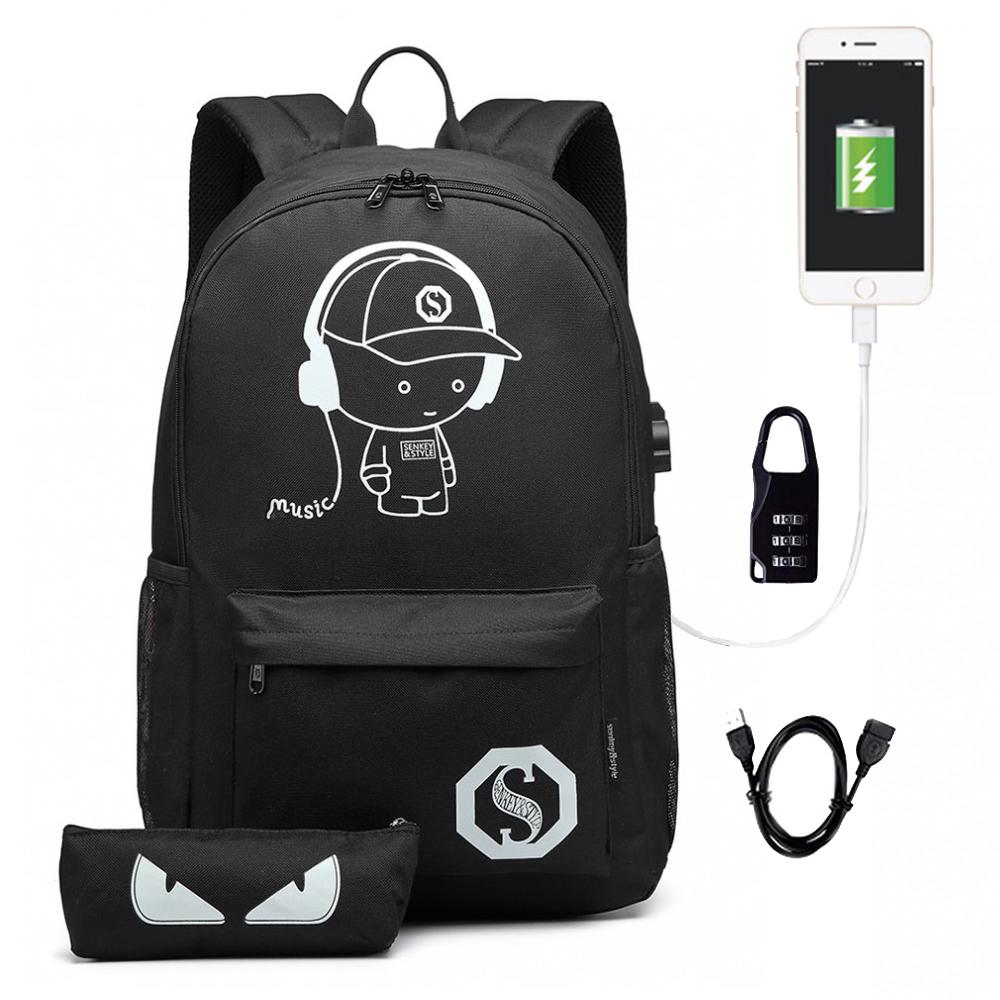 KONO čierny batoh s puzdrom, nepremokavý, USB port, žiari v tme