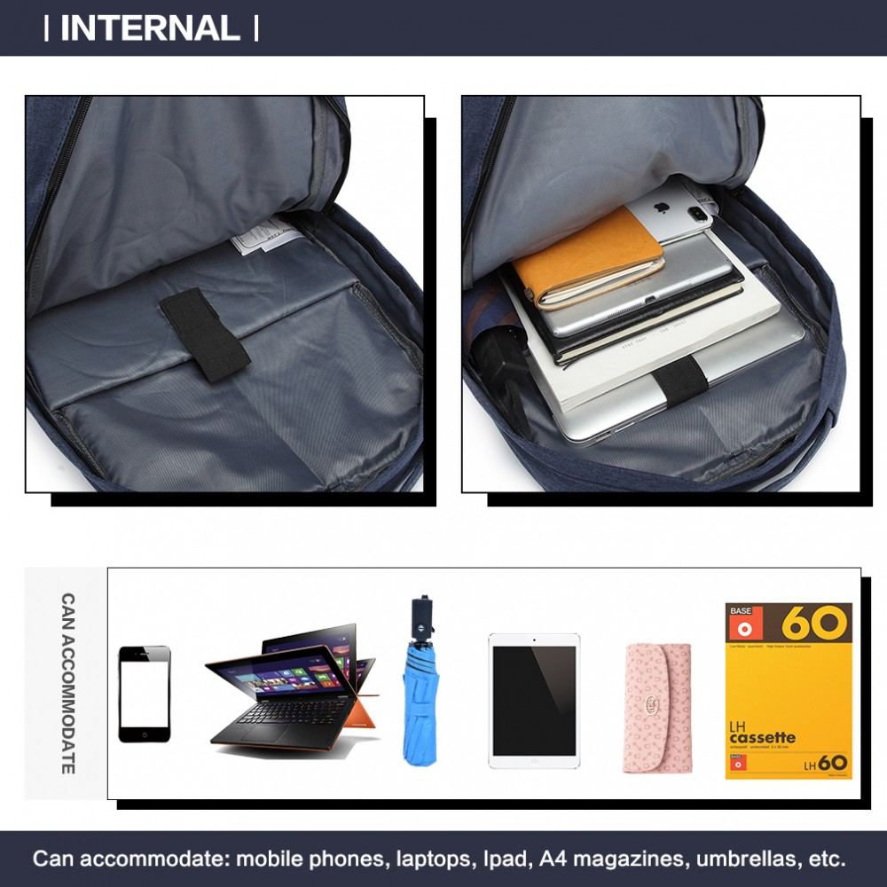 KONO modrý elegantní batoh nepromokavý s USB portem UNISEX