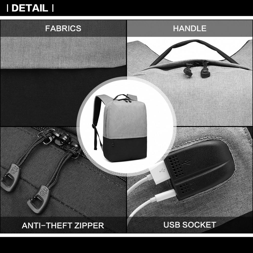 KONO šedo-černý elegantní batoh nepromokavý s USB portem UNISEX