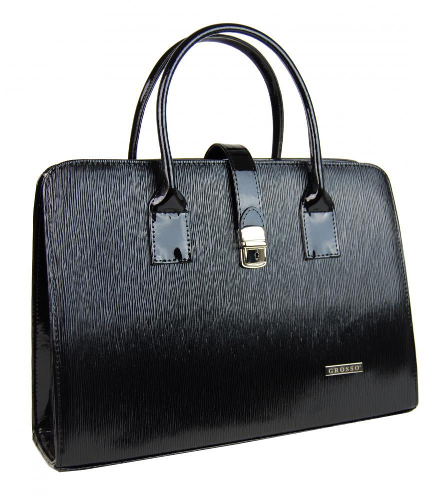 """Černá vroubkovaná elegantní dámská aktovka / taška na notebook 15.6"""" ST02 GROSSO"""