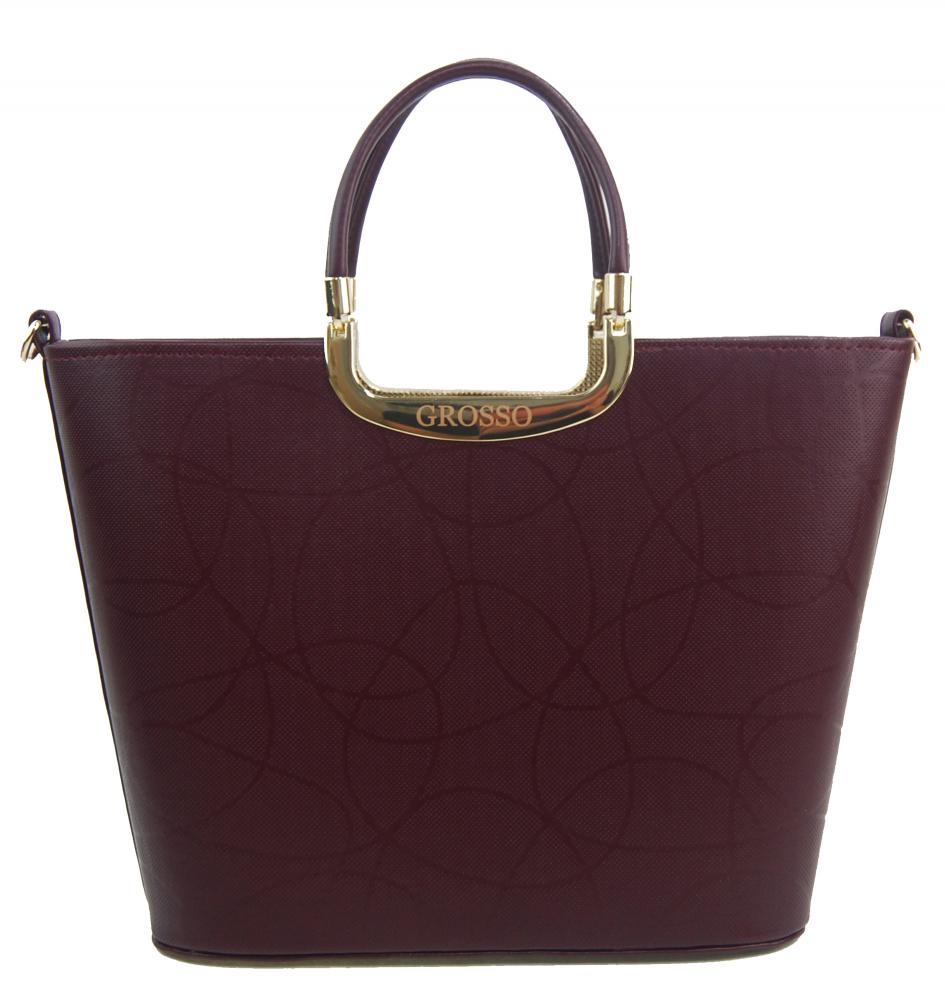 Elegantní kabelka do ruky S7 bordová se zlatým kováním GROSSO