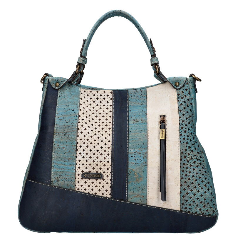 ELENCO Luxusná korková dámska kabelka modrá