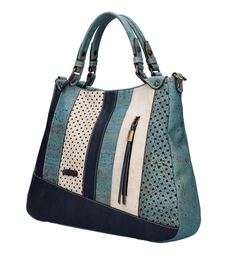 ELENCO Luxusní korková dámská kabelka modrá