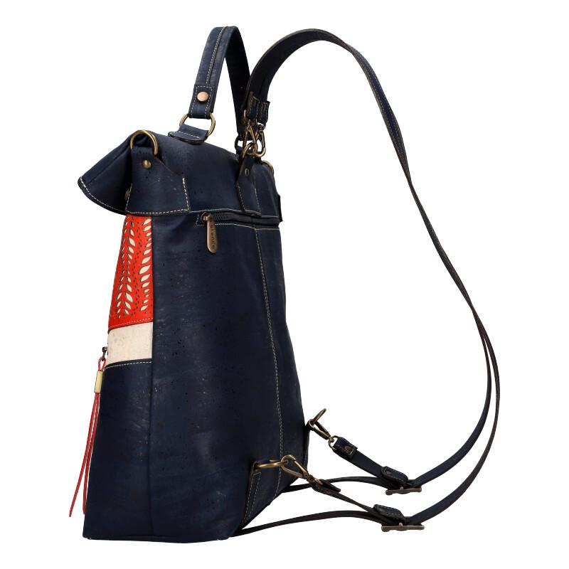 ELENCO Prestižní korkový dámský batoh tmavě modrý