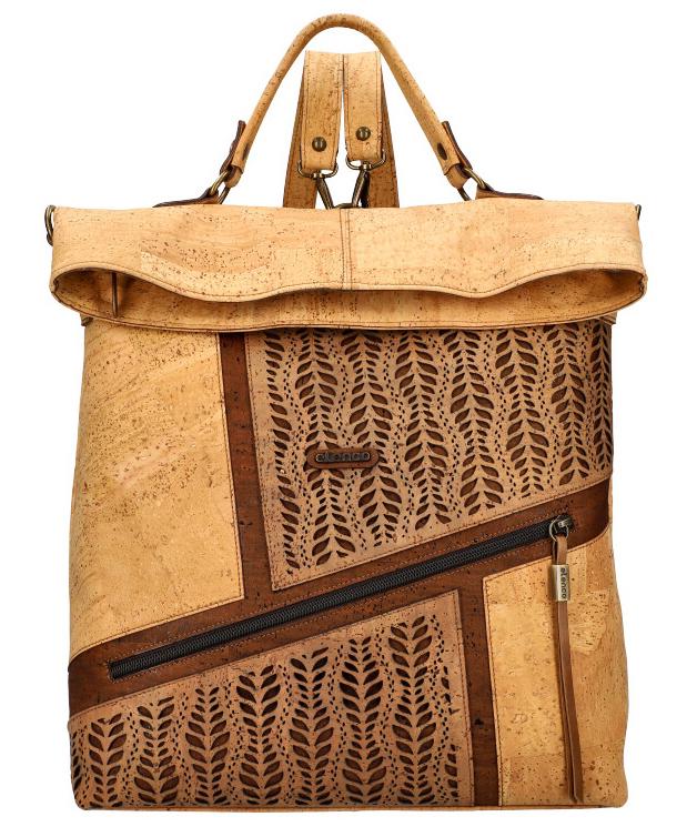 ELENCO Prestížny korkový dámsky ruksak prírodný