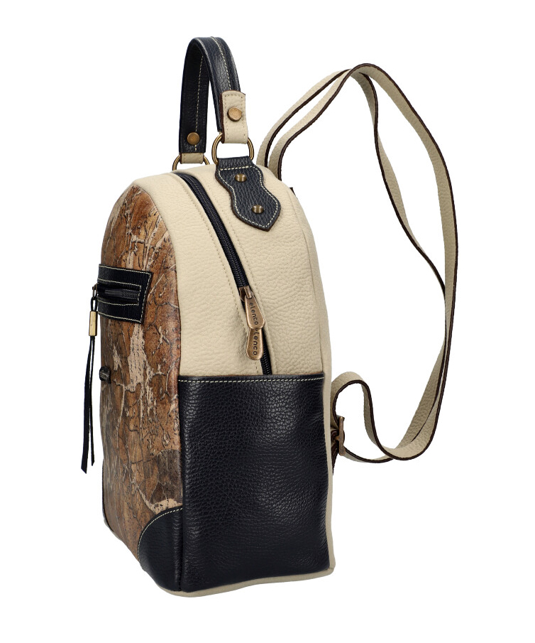 ELENCO Luxusní dámský batoh z pravé kůže modro-šedý