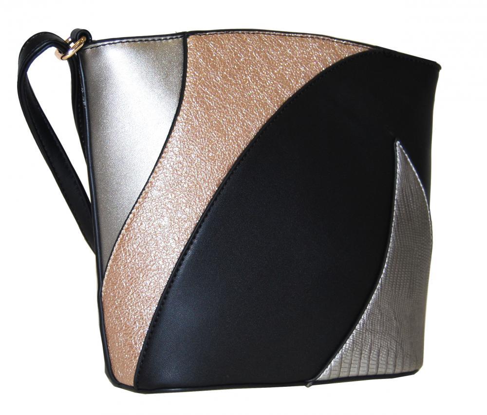 Menšia dámska viacfarebná crossbody kabelka F002 čierna
