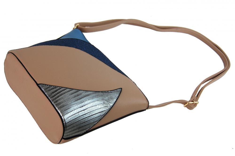 Menší dámská barevná crossbody kabelka F002 hnědo-béžová