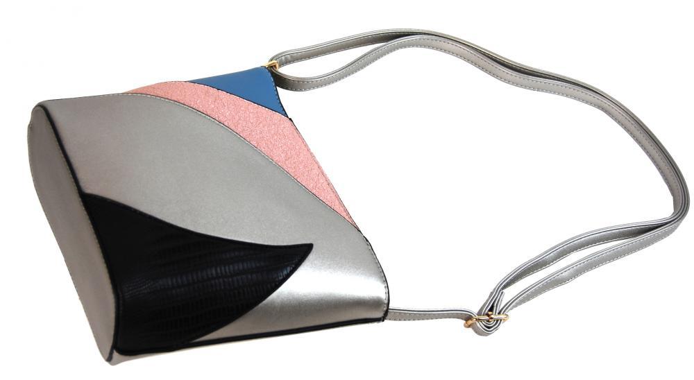 Menší dámská barevná crossbody kabelka F002 stříbrná