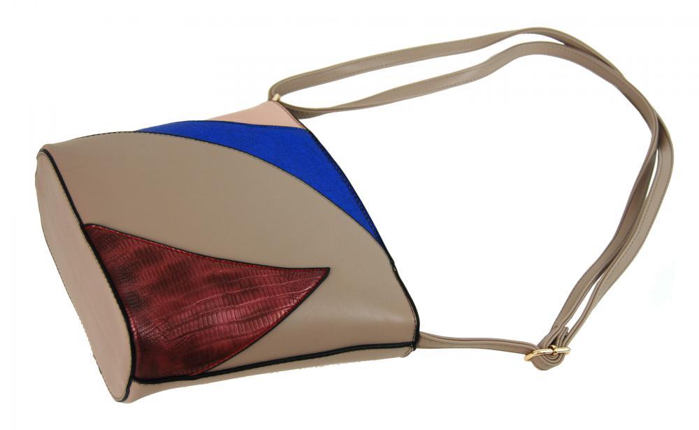 Menší dámská barevná crossbody kabelka F002 přírodní hnědá
