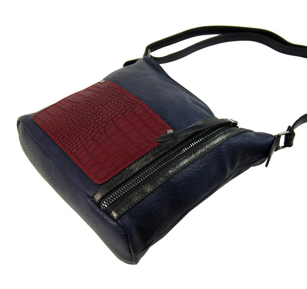 Dámská crossbody kabelka s čelní kroko kapsičkou F-014 modrá