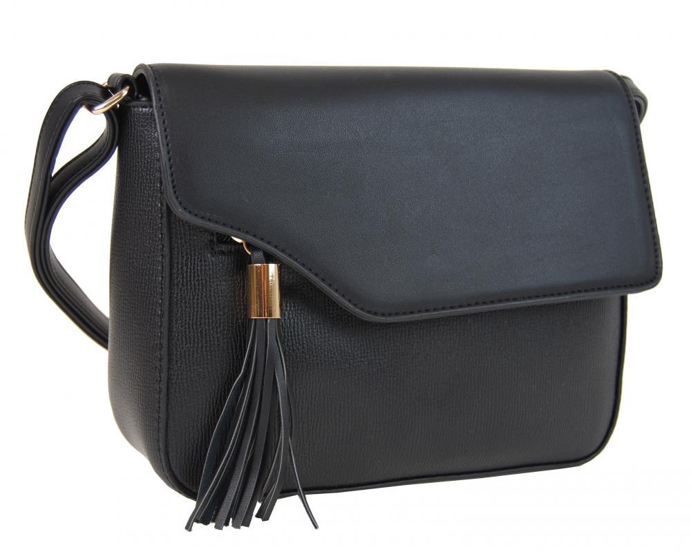Pozdĺžna crossbody kabelka s ozdobou F008 čierna