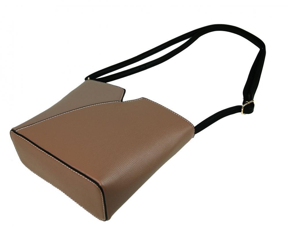 Dámská vyztužená crossbody kabelka F009 přírodní hnědá