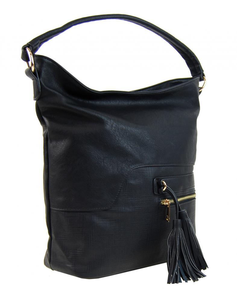 Elegantní kombinovaná dámská crossbody kabelka F1349 černá